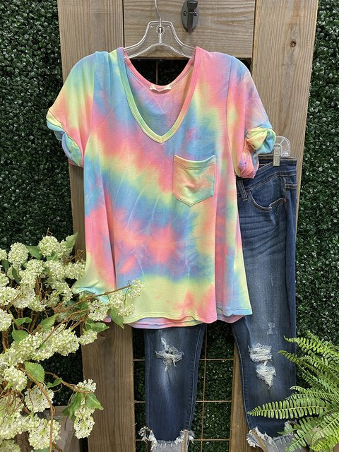 Multicolor Casual V Neck Ombre/tie-Dye Cotton Shirts & Tops