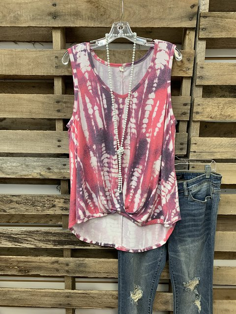 Multicolor Sleeveless Ombre/tie-Dye Crew Neck Shirts & Tops