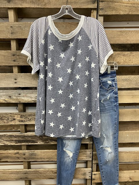 American Independence Day Stars And Stripes Print T-shirt