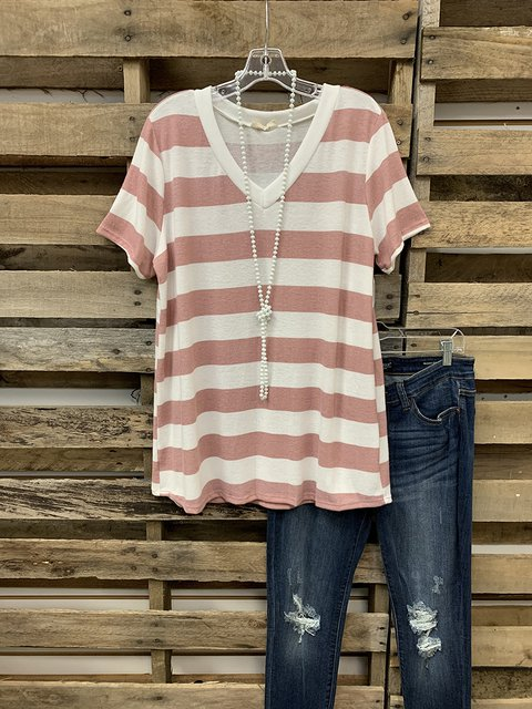 Pink-White Short Sleeve Shift Cotton-Blend Casual Tee