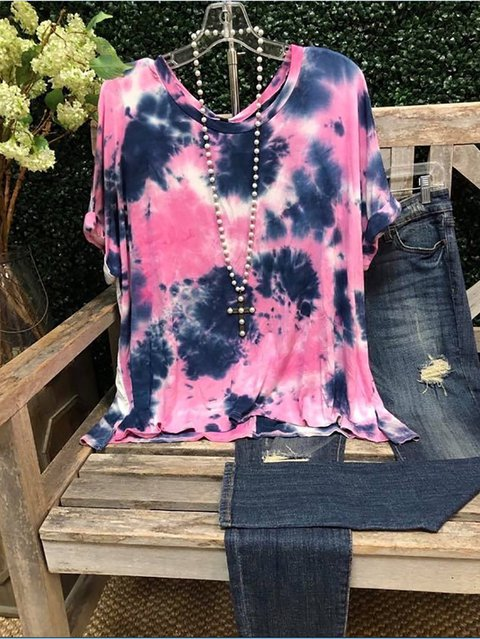 Purple Ombre/tie-Dye Casual Cotton Crew Neck Shirts & Tops