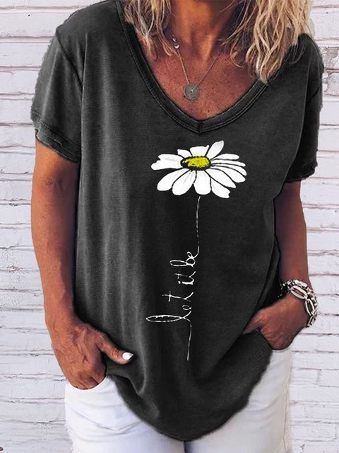 Floral Printed Cotton-blend V-neck Casual Tops Tees