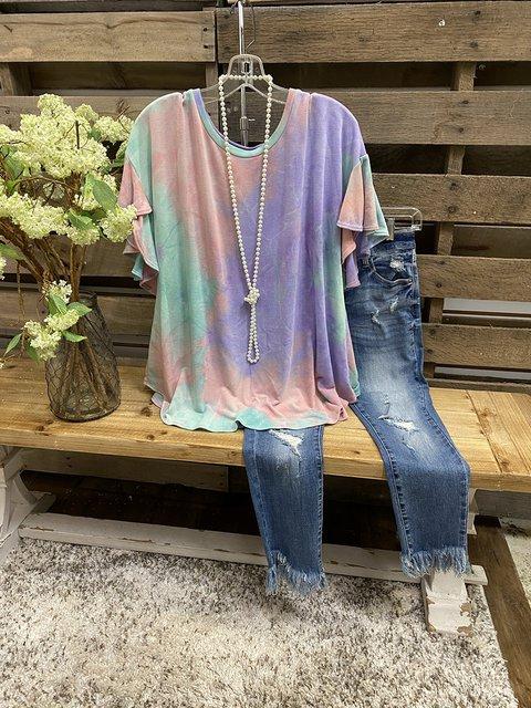 Multicolor Short Sleeve Cotton Crew Neck Ombre/tie-Dye Shirts & Tops