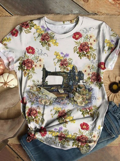 Plus Size Casual Vintage Crew Neck Shirts & Tops