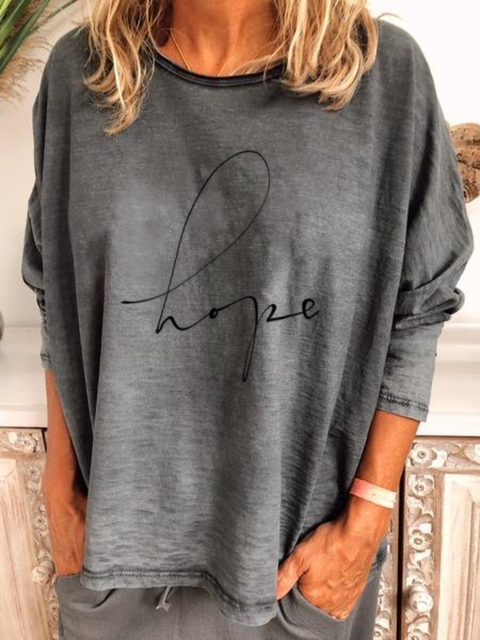 Plus size Casual Letter Shirts & Tops