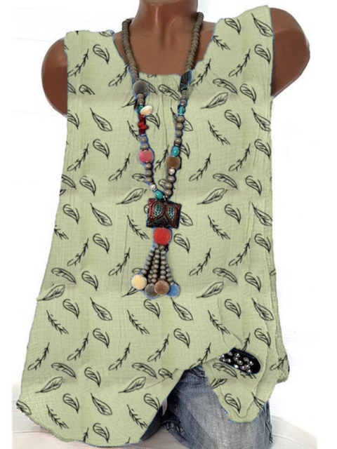 Plus size Leaves Sleeveless Vintage Shirts & Tops