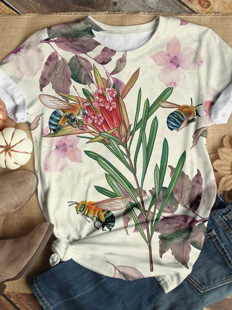 Multicolor Printed Round Neck Casual Patchwork Shirts & Tops