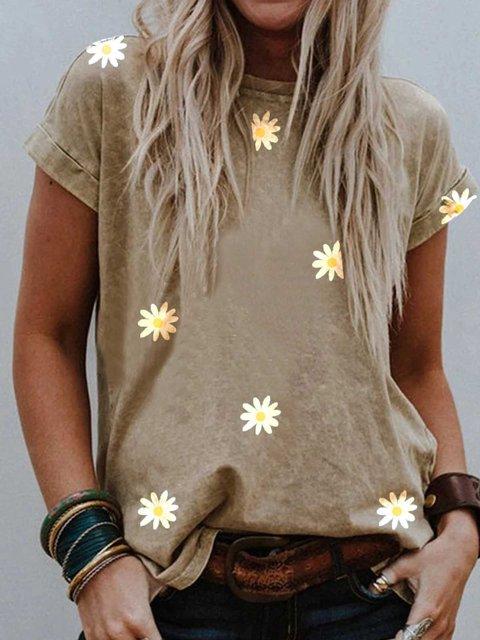 Khaki Printed Round Neck Patchwork Short Sleeve Shirts & Tops