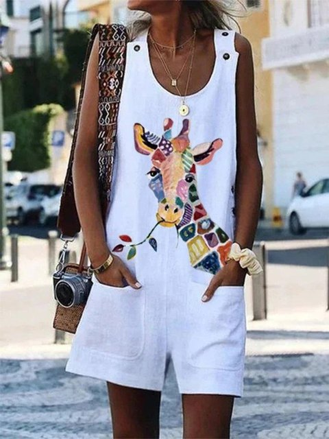 White Animal Shift Holiday Daily U-Neck Casual Printed Shift Sleeveless One-Pieces