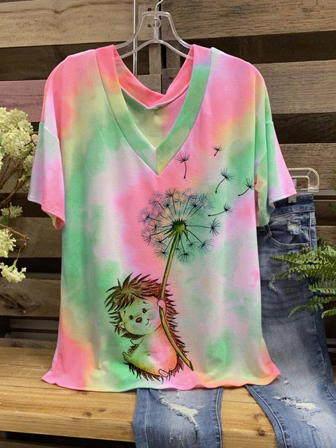 Color Cotton-Blend V Neck Short Sleeve Shirts & Tops