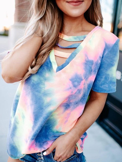 Crew Neck Ombre/tie-Dye Cotton Casual Shirts & Tops
