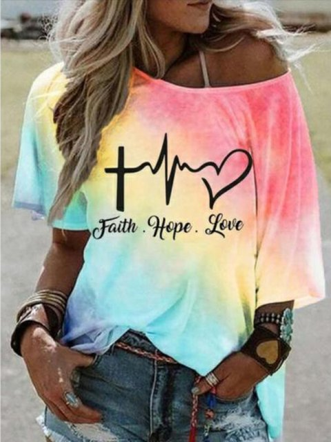 Ombre Daily Casual Ombre/tie-Dye Letter Short Sleeve Shift Shirts & Tops