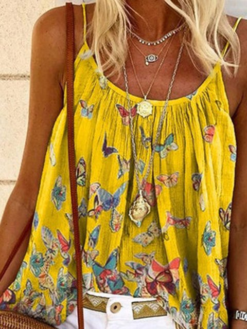 Casual Sleeveless Printed Shirts & Tops