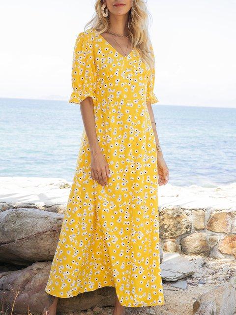 Mustard Boho V Neck Floral Dresses