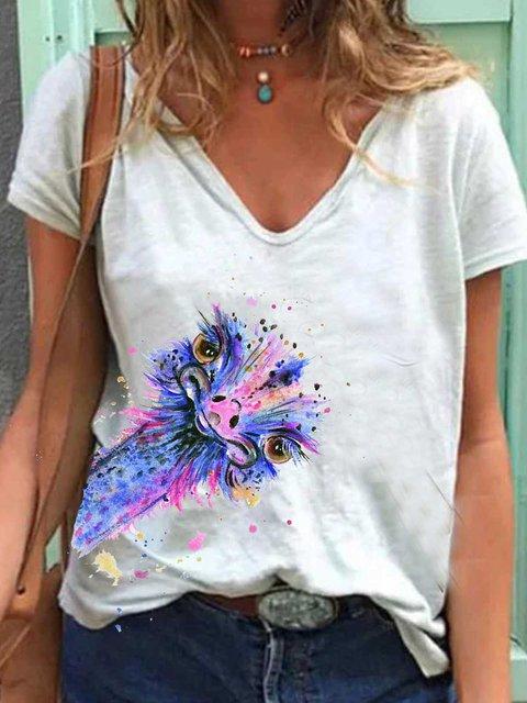 Light Blue Printed Short Sleeve Patchwork Cotton Shirts & Tops