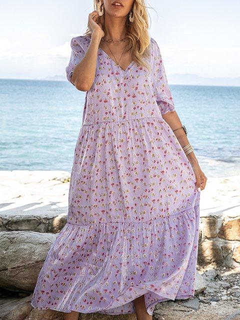 Pruple Pink V Neck Short Sleeve Dresses
