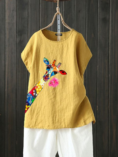 Yellow Sweet Cotton-Blend Cartoon Shirts & Tops