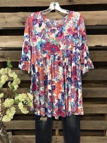 Cotton-Blend Floral Casual Shirts & Tops