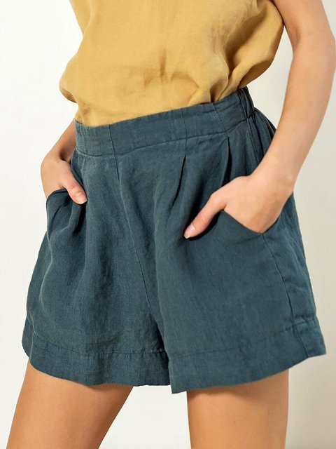 Casual Elasticated Waist Cotton Linen Front Pleated Shorts