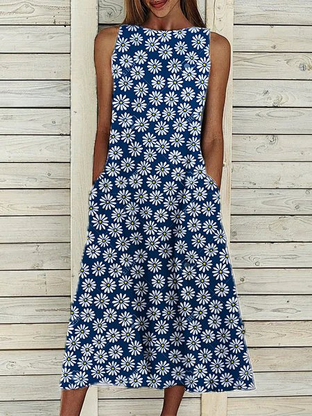 Floral Casual Crew Neck Sleeveless Dresses