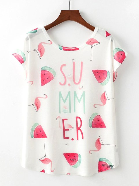 Summer Print Round Neck Casual T-Shirts & Tops