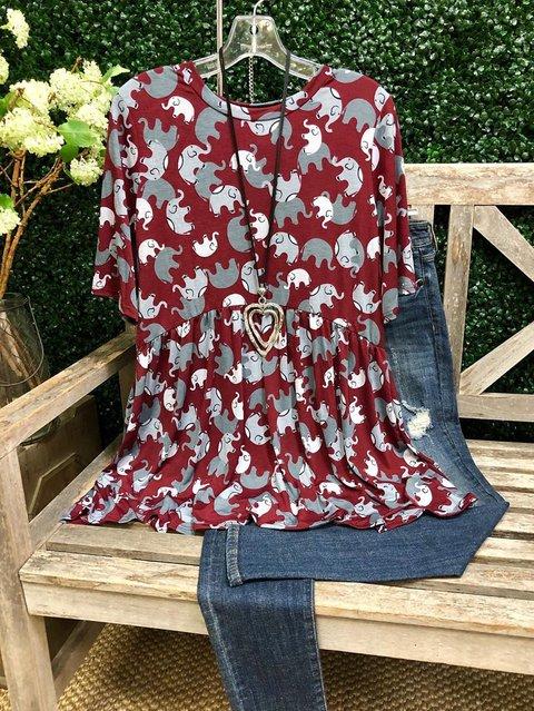 Cotton Casual O-Neck Shirts & Tops