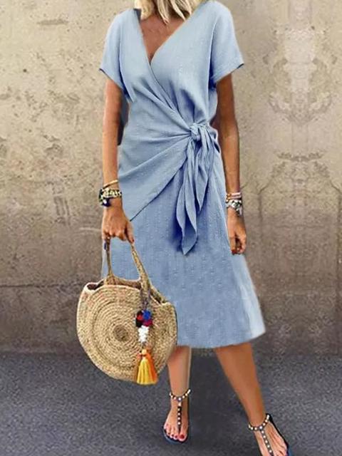 Blue Plain V Neck Short Sleeve Dresses