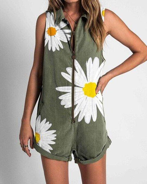Floral Printed Casual Shirt Collar Zipper Sleeveless Jumpsuits
