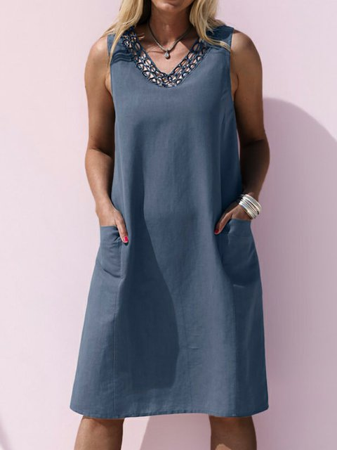 Casual lace collar dress pocket midi dress