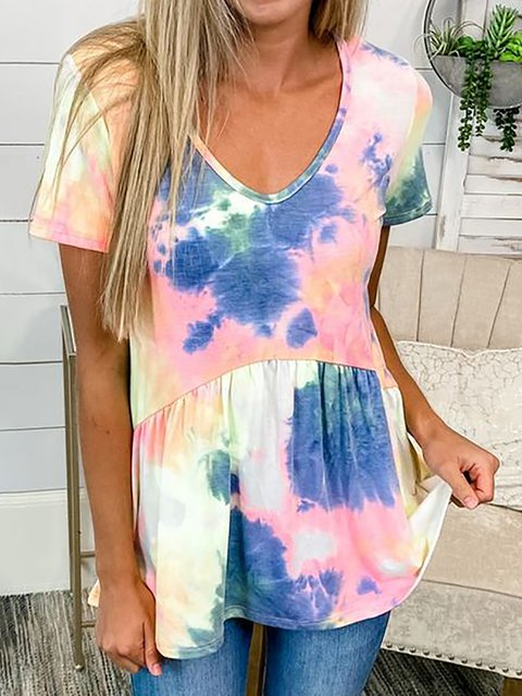 Short Sleeve Cotton Ombre/tie-Dye Shirts & Tops