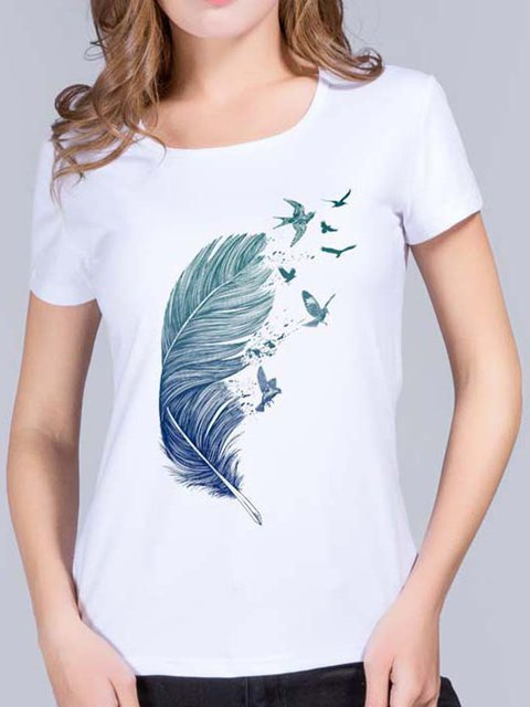 Gradient Feather Print T-shirt