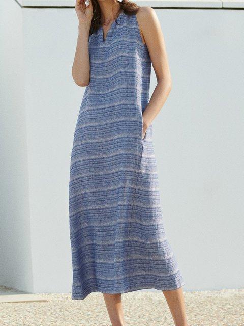 Blue Geometric Printed Casual Cotton-Blend Dresses