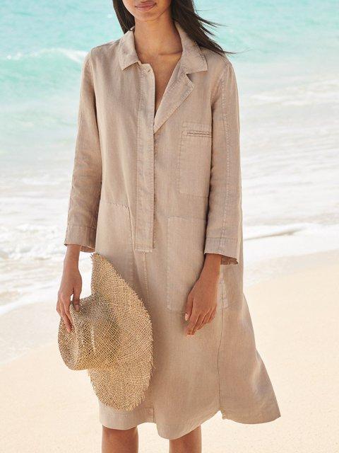 Apricot Casual Linen Dresses