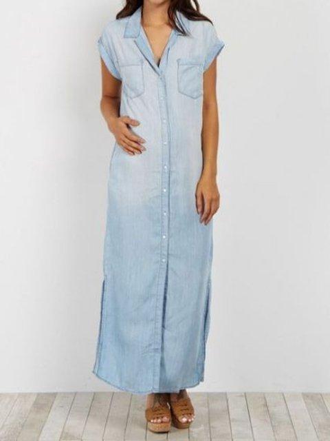 Blue Plain Cotton-Blend Casual Dresses