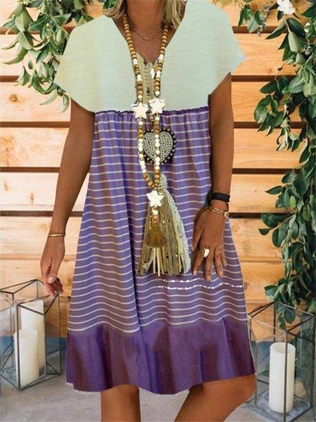 Holiday V Neck Short Sleeve A-Line Dresses