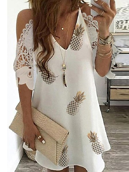 Cotton-Blend Off Shoulder Floral Short Sleeve Dresses