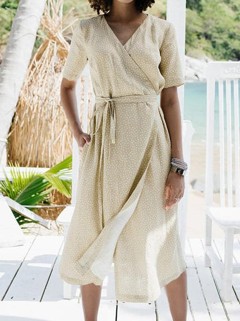 Comfort Washed Linen Casual Wrap Dress