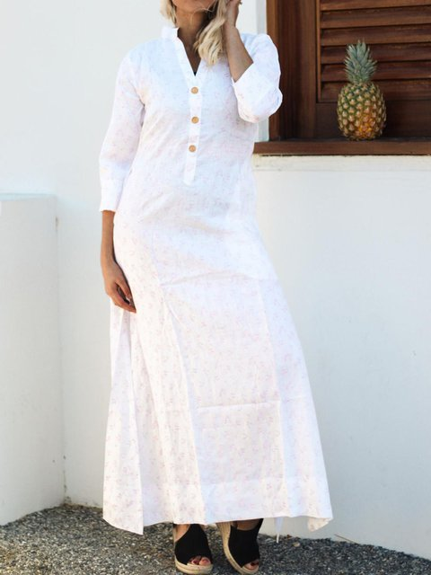 Casual 3/4 Sleeve Loose Linen Maxi Shirt Dress