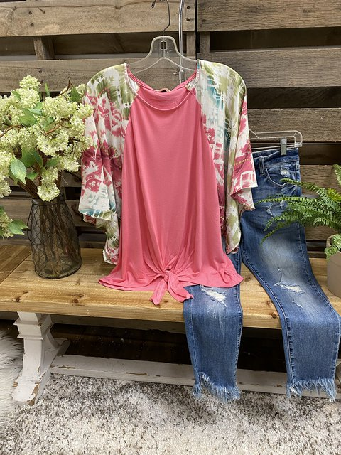 Pink Ombre/tie-Dye Cotton Crew Neck Short Sleeve Shirts & Tops