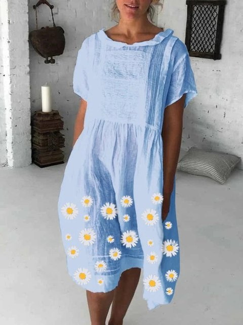 Blue Casual Holiday Floral Printed Shawl Collar Short Sleeve Dresses