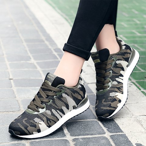 Camouflage Green Fabric Daily Sneakers