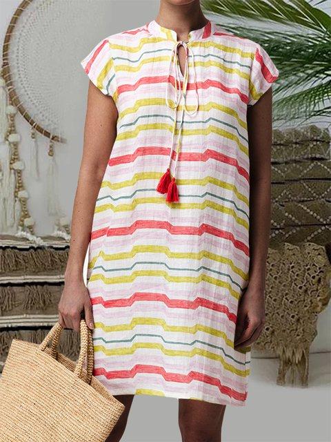 Stripe V-neck Fringed Linen Dress