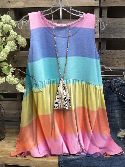Multicolor Sleeveless Color-Block Round Neck Shirts & Tops