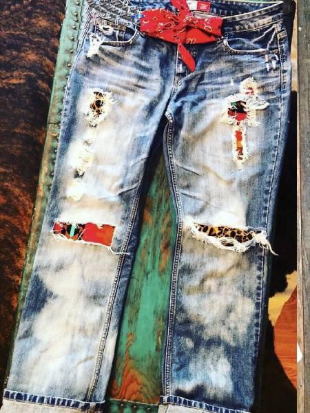Blue Denim Boho Paneled Pants