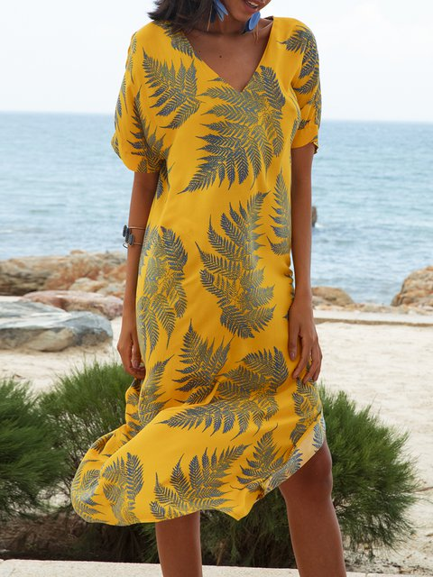 Yellow Floral Boho Short Sleeve Floral-Print Dresses