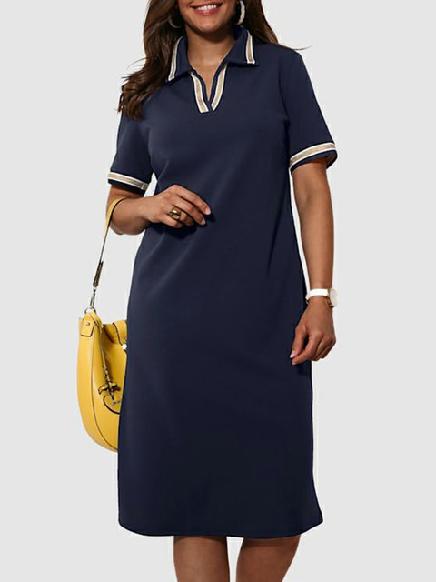 Navy Blue Shirt Collar Short Sleeve Plain Dresses