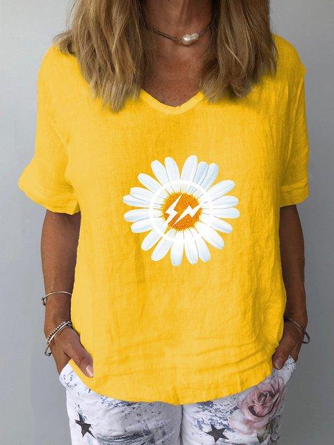 Daisy Print Casual Short Sleeve V Neck Shirts & Tops