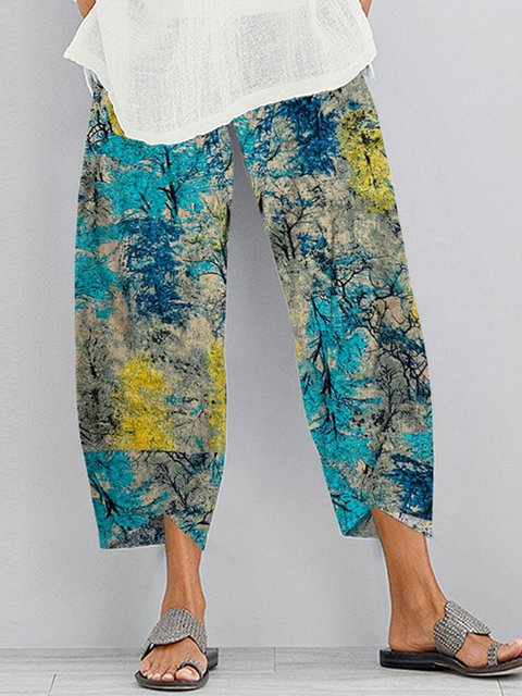 Cotton Printed Vintage Pants