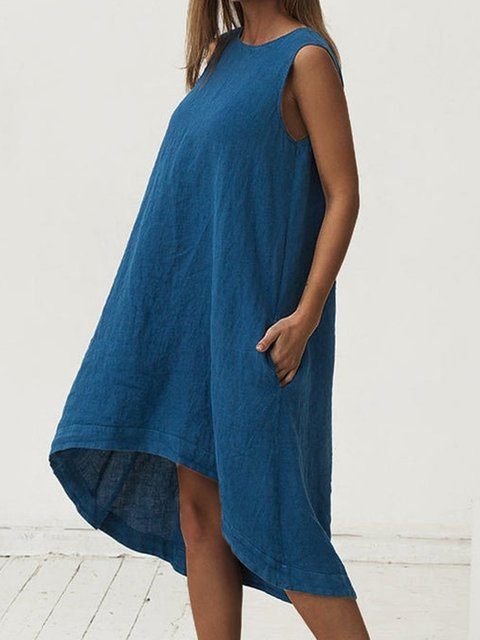 Asymmetrical Knee-length Sleeveless Loose-fit Linen Dress