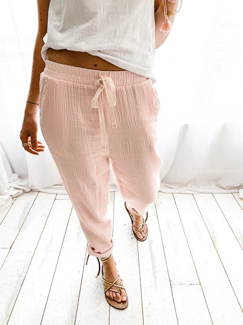 Cotton Solid Drawstring Pants